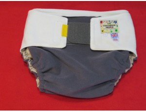 """Adult Reusable Waterproof Cover Grey with Cream tabs -Large Waist 40""""-54"""" Rise 40"""""""